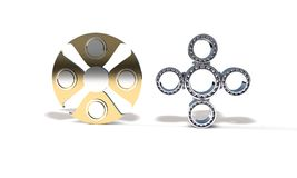 Classic and titanium fidget spinner, 3d render Royalty Free Stock Photography