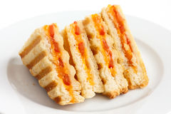 Classic tomato and cheese toasted sandwich on white plate Stock Image