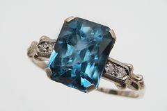 Classic Topaz and Diamond Ring Royalty Free Stock Photography