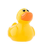 Classic toy, yellow plastic duck. Royalty Free Stock Photography