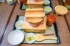 Classic traditional Japanese food set., Osaka, Japan stock images