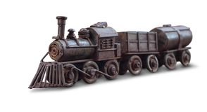 Classic train iron toy isolate with clipping path. On white background Royalty Free Stock Photos