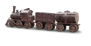 Classic train iron toy isolate with clipping path on white backg. Round Stock Photography