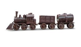Classic train iron toy isolate with clipping path on white backg. Round Stock Photos