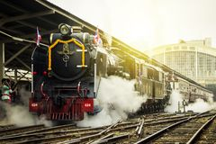 Classic Train led by Steam locomotive Pacific of Thailand. Stock Images