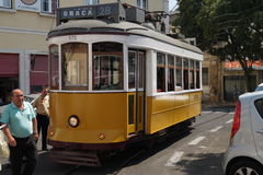 Classic public transportation tram in Lisbon, Portugal Royalty Free Stock Image