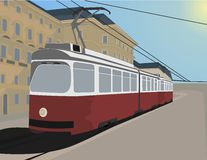 Classic Tramway. In the City of Vienna, detailed Vector Illustration Stock Photo