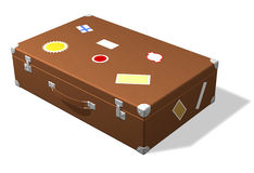 Classic travel suitcase with stickers Royalty Free Stock Photography