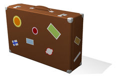 Classic travel suitcase with stickers Royalty Free Stock Images