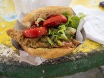 Classic Trinidad Shark N Bake. Close up of a Trinidad classics- Shark N Bake at Maracas Royalty Free Stock Photo