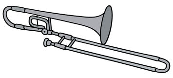 Classic trombone. Hand drawing of a classic silver trombone royalty free illustration
