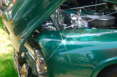 Classic Truck 1. Shinny Emerald Green Classic Truck and Engine Royalty Free Stock Photography