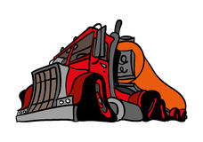 A classic truck. A classic red and orange truck Stock Image