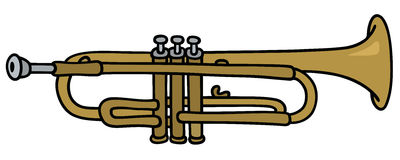 Classic trumpet. Hand drawing of a classic brass trumpet vector illustration