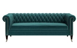 Classic tufted sofa,emerald green color isolated on white background vector illustration