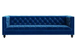 Classic tufted sofa blue velvet isolated on white background. Classic tufted sofa isolated on white background.Digital illustration.3d rendering.Front view Royalty Free Stock Photo