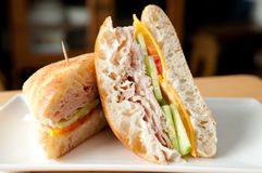 A classic turkey sandwich on a ciabatta roll Royalty Free Stock Photo