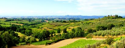 Classic Tuscan landscape. Panoramic view over the countryside of Tuscany, Italy Royalty Free Stock Images