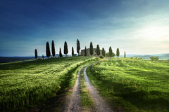 Classic Tuscan views in spring sunset time,  Pienza, Italy Stock Images