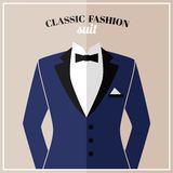 Classic tuxedo suit with bow Stock Photography
