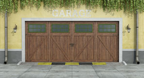 Classic two car wooden garage Stock Photography