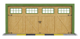 Classic two car wooden garage on white Stock Images