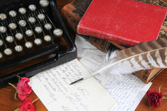 Classic type writer and antique books Royalty Free Stock Image