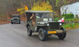 Classic US army cars during a parade Stock Image