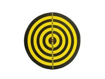 Classic Used Yellow and Black Dart Board on White with Clipping Path Stock Photo