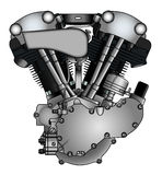 Classic V-twin motorcycle engine Stock Photos