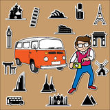 Classic van around the world Stock Photo