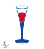 Classic vector champagne goblet, alcohol beverage theme illustra Stock Images