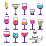 Classic vector goblets collection – martini, wineglass, cognac Royalty Free Stock Images