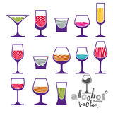 Classic vector goblets collection Royalty Free Stock Photography