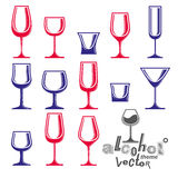 Classic vector goblets collection, martini, wineglass, cognac Stock Photography