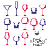 Classic vector goblets collection, martini, wineglass, cognac Stock Photo