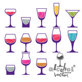 Classic vector goblets collection, martini, wineglass, cognac Royalty Free Stock Image