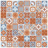 Portugese ceramic tiles seamless pattern. Classic vector pattern of abstract square floral and geometric tiles. Traditional portugese and arabic ceramic wall Stock Images