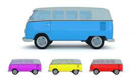 Classic vehicle van side view different colors Royalty Free Stock Image