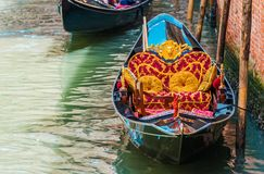 Classic Venetian Gondola. In the Venice Canal. Italy Stock Image