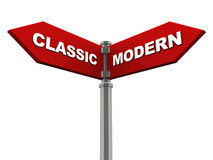 Classic versus modern. Classic on one side, modern on another over white background. concept of choice of trusted old traditional method or modern new one Stock Photography