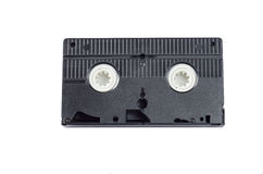 Classic video cassette. Classic black video cassette on a white background Stock Photos