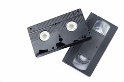 Classic video cassette. Classic black video cassette on a white background Royalty Free Stock Images