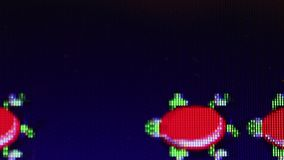Classic Video Game - Medium Macro 'Frogger': frog, turtles, logs. Medium macro shot of 'Frogger', a classic/retro video game; frog is seen hopping on passing log stock video