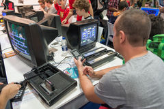 Classic videogames at games week 2014 in Milan Stock Image