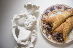 Classic viennese waffles rolls Stock Photos