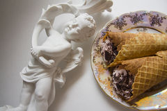 Classic viennese waffles rolls Royalty Free Stock Photos