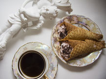 Classic viennese waffles rolls Royalty Free Stock Images