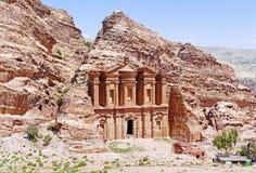 Ancient Ad Deir Monastery in Petra, Jordan. Classic View of Ancient Ad Deir Monastery in Petra, Jordan in Summer royalty free stock image