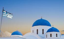 Classic view of blue dome church in Santorini. Perissa Village, Greece Royalty Free Stock Photo